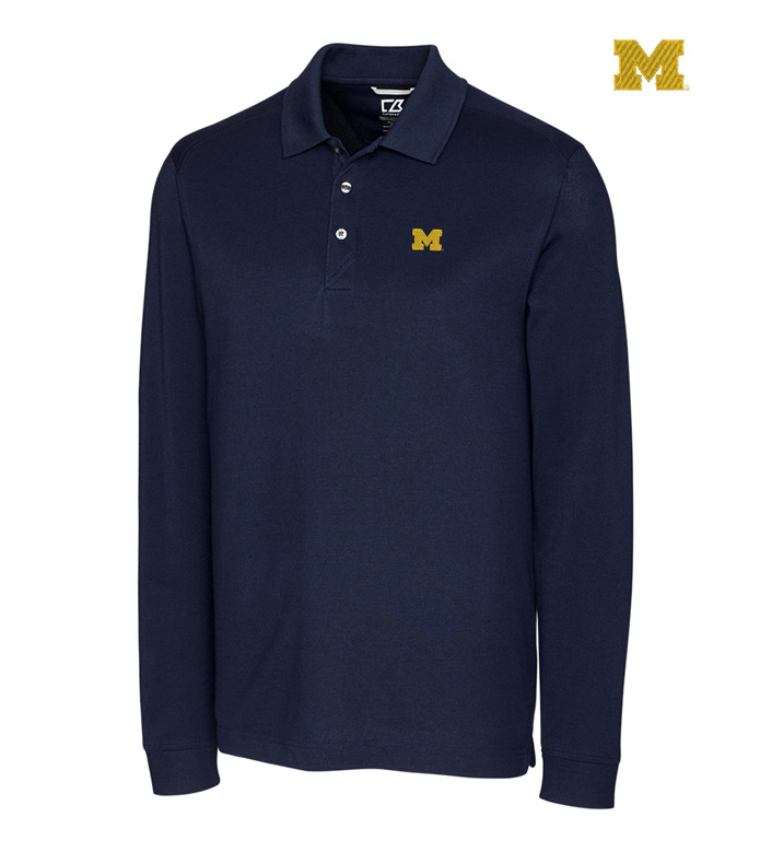 Cutter & Buck University of Michigan Cotton+ Advantage Long Sleeve Polo