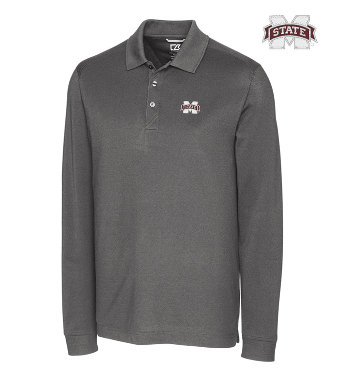 Cutter & Buck Mississippi State University Cotton+ Advantage Long Sleeve Polo
