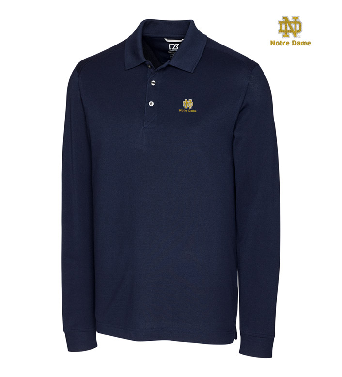 Cutter & Buck University of Notre Dame Cotton+ Advantage Long Sleeve Polo