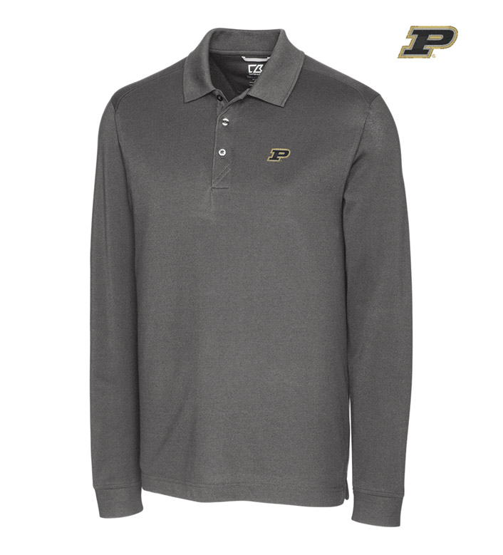 Cutter & Buck Purdue University Cotton+ Advantage Long Sleeve Polo