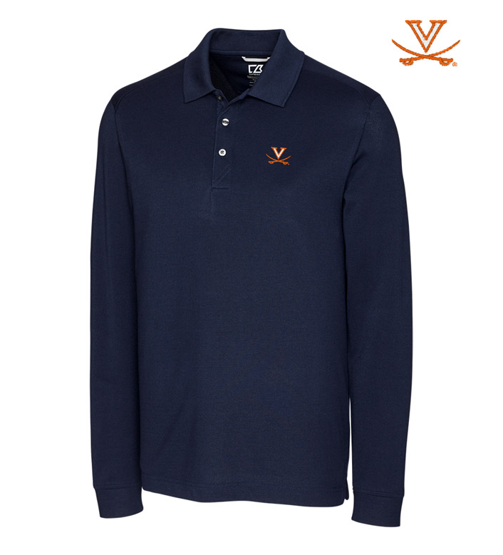 Cutter & Buck University of Virginia Cotton+ Advantage Long Sleeve Polo