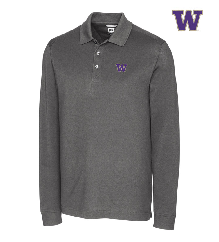 Cutter & Buck University of Washington Cotton+ Advantage Long Sleeve Polo