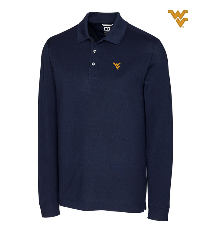 Cutter & Buck West Virginia University Cotton+ Advantage Long Sleeve Polo