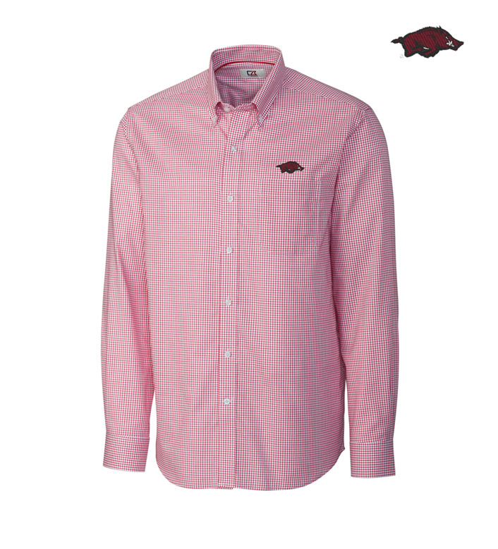 Cutter & Buck University of Arkansas Tattersall Long Sleeve Sport Shirt