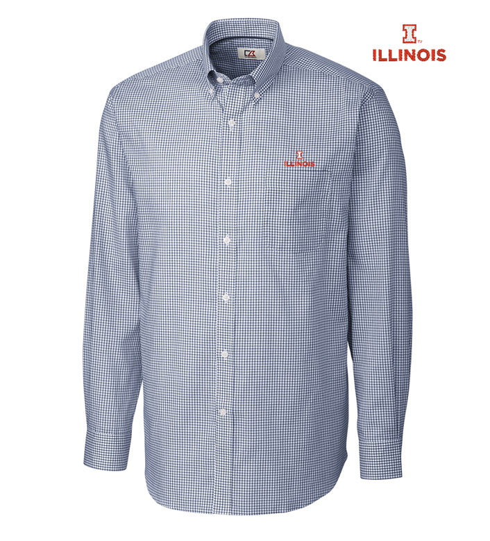 Cutter & Buck University of Illinois Tattersall Long Sleeve Sport Shirt