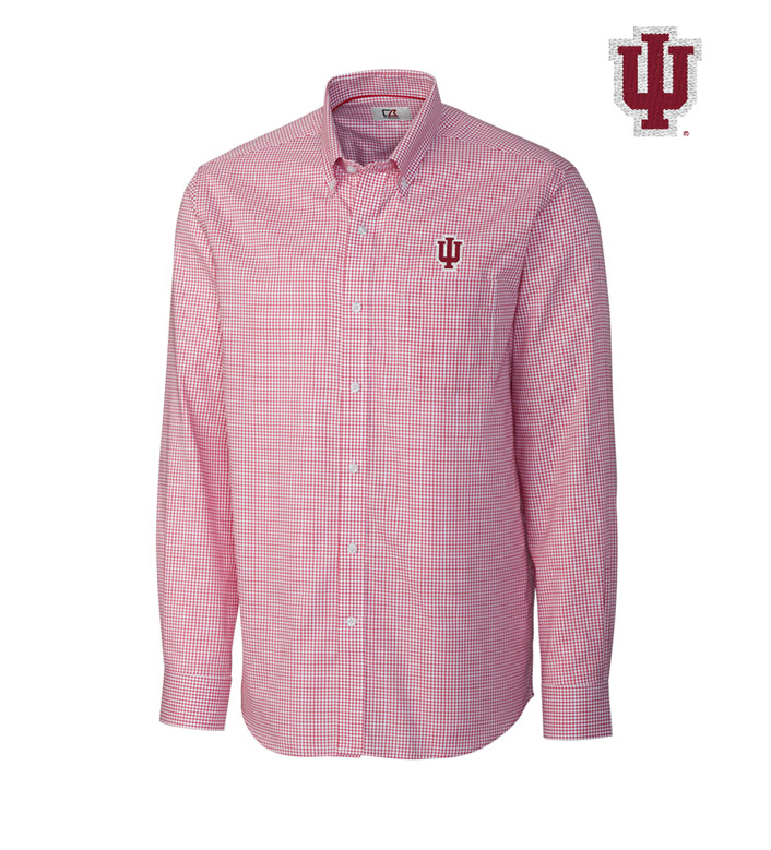 Cutter & Buck Indiana University Tattersall Long Sleeve Sport Shirt