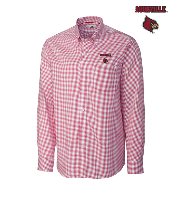Cutter & Buck University of Louisville Tattersall Long Sleeve Sport Shirt