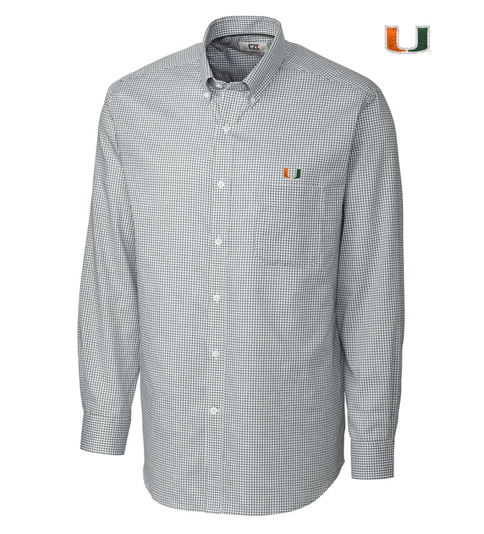 Cutter & Buck University of Miami Tattersall Long Sleeve Sport Shirt