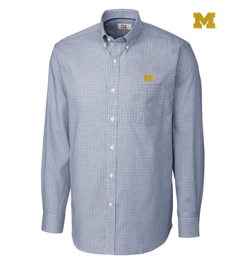 University of Michigan Tattersall Long Sleeve Sport Shirt