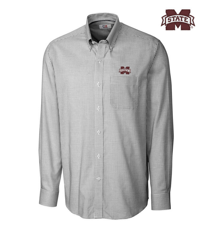 Cutter & Buck Mississippi State University Tattersall Long Sleeve Sport Shirt