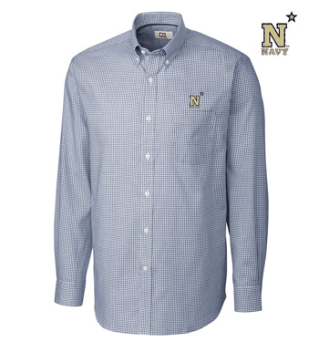 Navy Tattersall Long Sleeve Sport Shirt