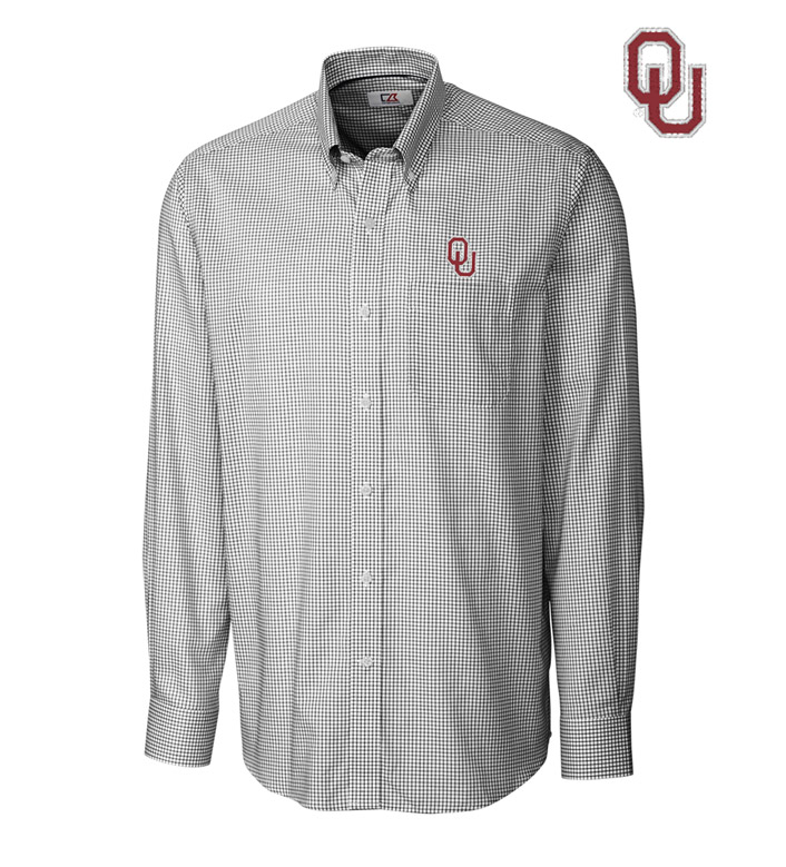 Cutter & Buck University of Oklahoma Tattersall Long Sleeve Sport Shirt