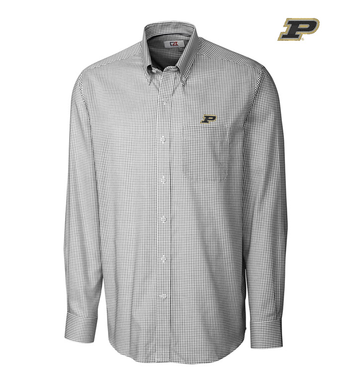Cutter & Buck Purdue University Tattersall Long Sleeve Sport Shirt