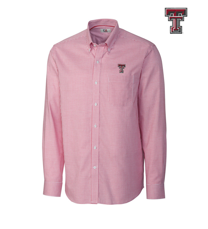 Cutter & Buck Texas Tech University Tattersall Long Sleeve Sport Shirt