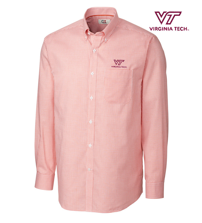 Cutter & Buck Virginia Tech Tattersall Long Sleeve Sport Shirt