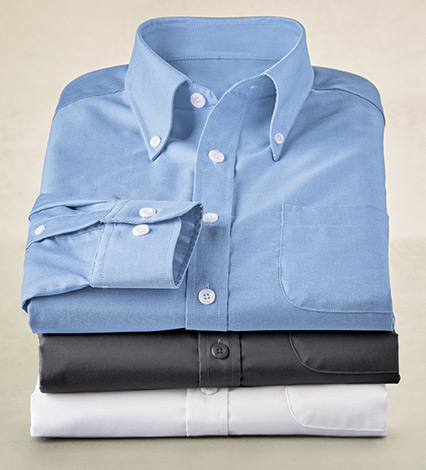 Cotton-Twill Non-Iron Long Sleeve Sport Shirt