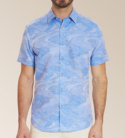 Sequential Short Sleeve Woven Sport Shirt