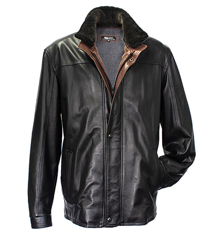 Lambskin Leather Jacket with Removable Shearling Collar