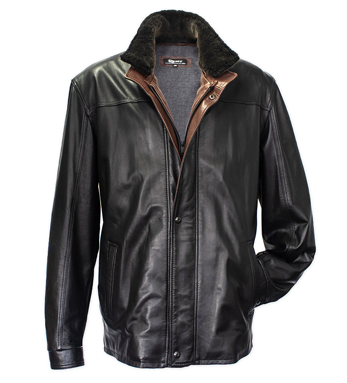 Remy Leather Lambskin Leather Jacket with Removable Shearling Collar