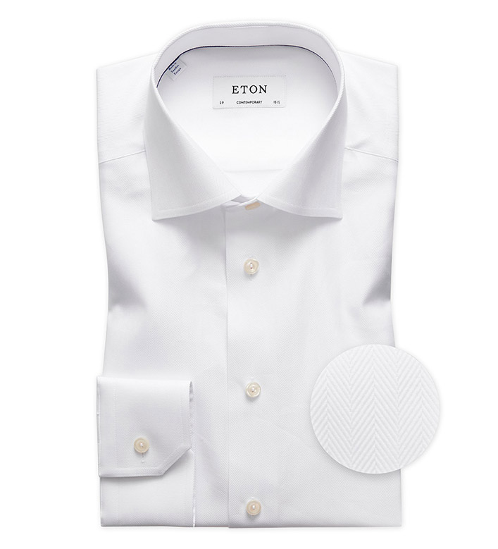 Eton Solid Herringbone Dress Shirt