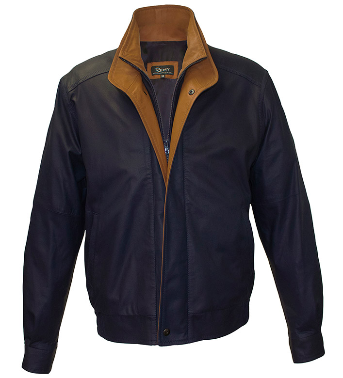 Remy Leather Double Collar Bomber Jacket