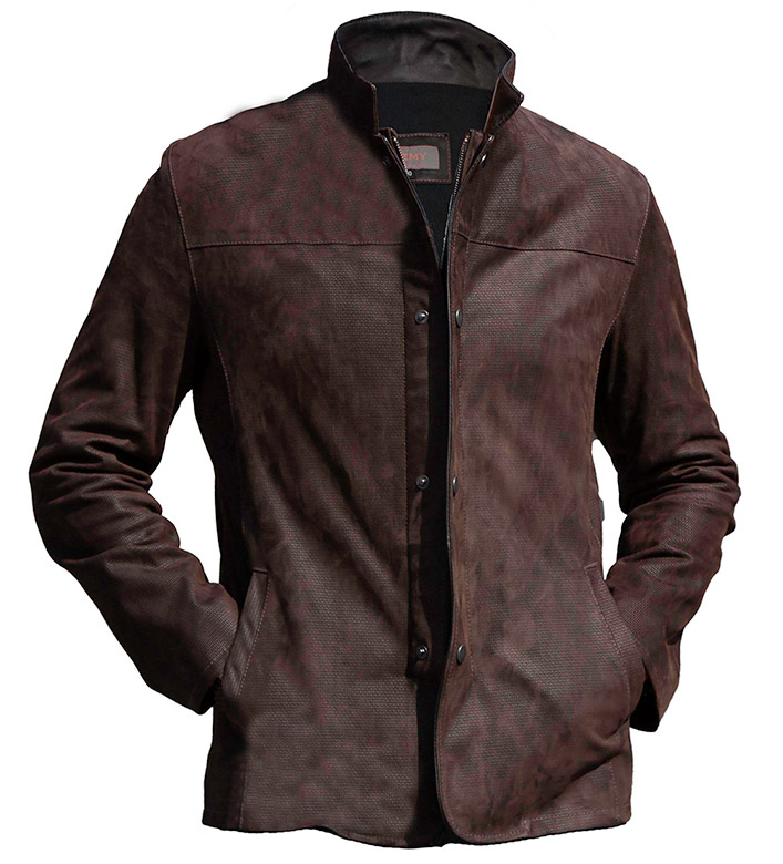 Remy Leather Jacket in Nubuck Print