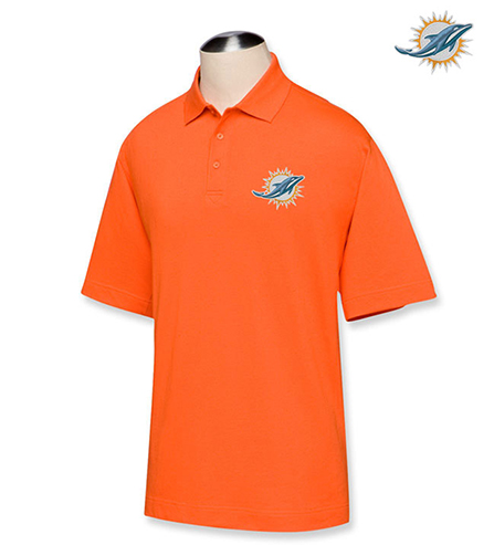 Cutter buck miami dolphins championship polo for Embroidered polo shirts miami