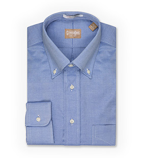 Long Sleeve Button-Down Classic Solid Pinpoint Dress Shirt