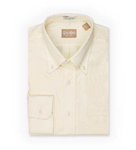 Gitman Brothers Long Sleeve Button-Down Solid Pinpoint Dress Shirt