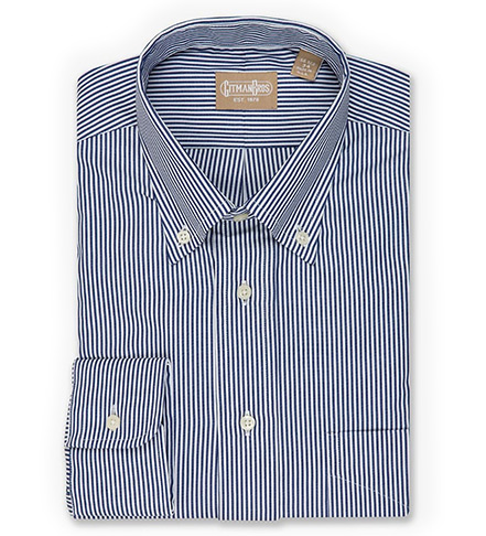 Gitman Brothers Long Sleeve Button-Down Bengal Stripe Dress Shirt