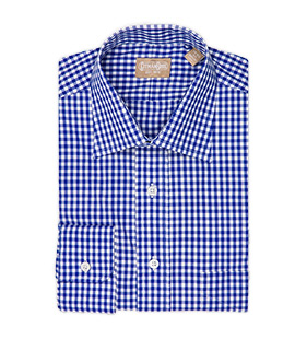 Long Sleeve Spread Collar Gingham Check Dress Shirt