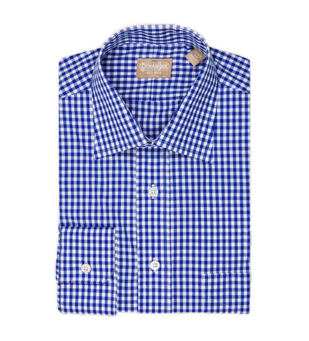 Gitman Brothers Long Sleeve Spread Collar Gingham Check Dress Shirt
