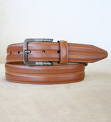 Patrick James Center Grooved Calfskin Belt