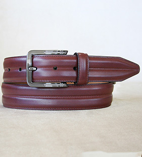 Center Grooved Calfskin Belt