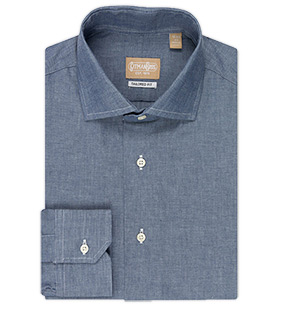 Tailored Fit Long Sleeve Wide Spread Collar Authentic Work Chambray Shirt