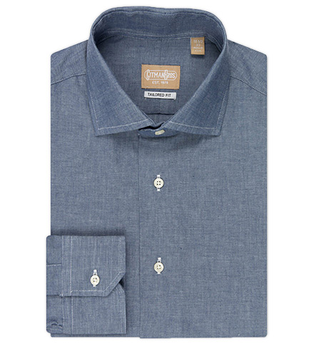 Gitman Brothers Tailored Fit Long Sleeve Wide Spread Collar Authentic Work Chambray Shirt